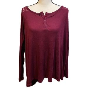Torrid Button Up Long Sleeve Maroon Lace Top